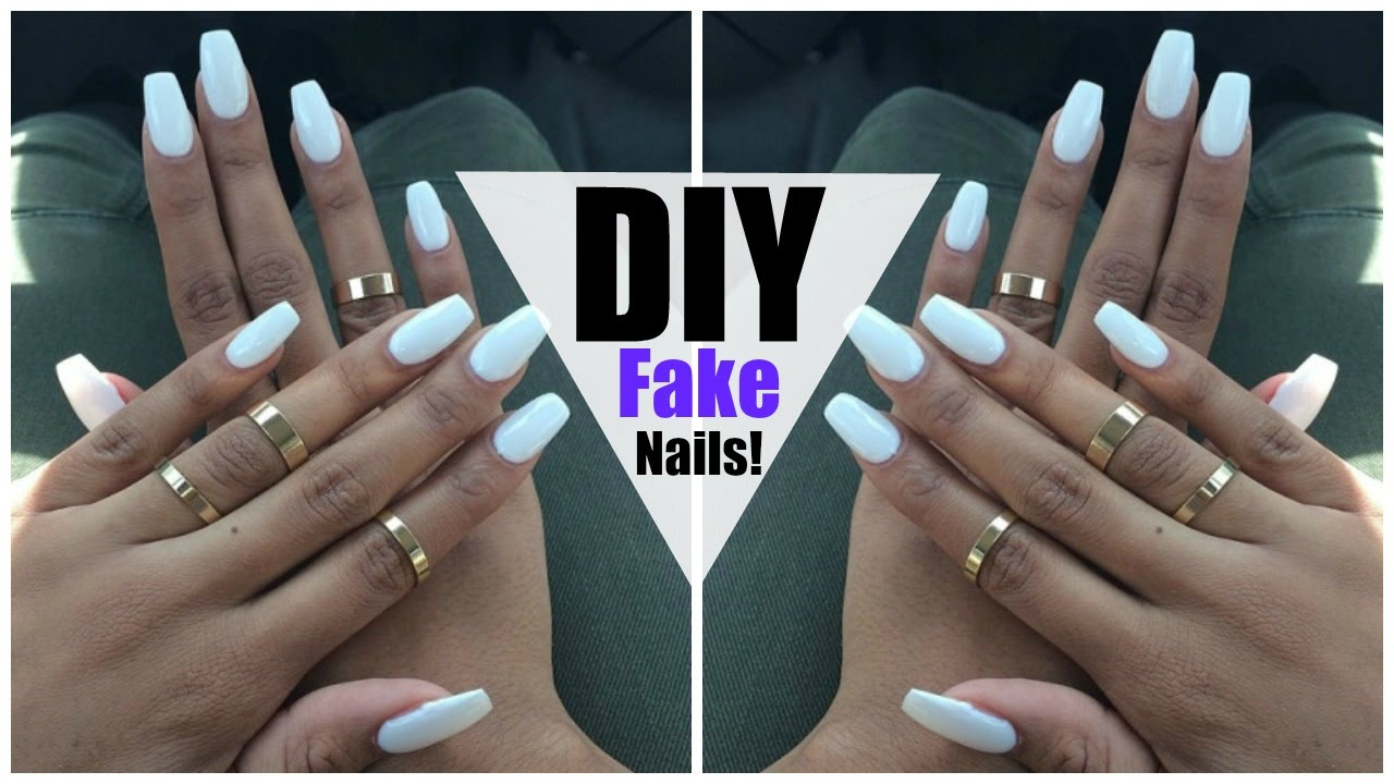DIY: EASY FAKE Nails at HOME! (NO ACRYLIC) - YouTube