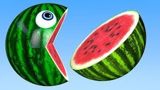 Learn Colors with PACMAN and Farm WaterMelon Tooth Brush Street Vehicle for Kid Children