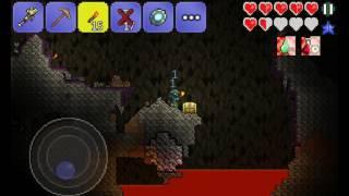 Прохождение игры Terraria на Андроид! Серия 3--- исследование пещеры
