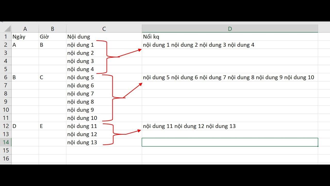 Nối nhiều dòng Excel thành một dòng theo nhóm