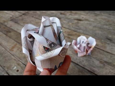 พับดอกกุหลาบ จากธนบัตร / DIY Money Origami Rose