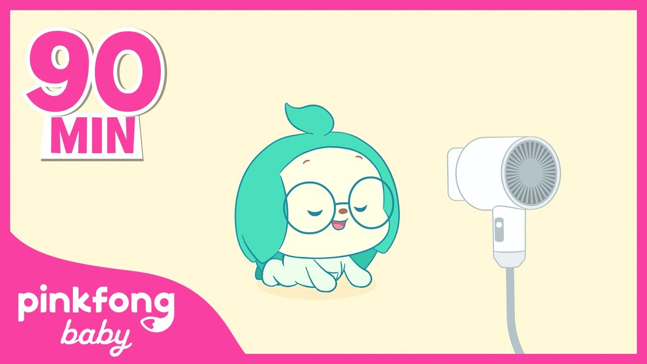 【90min】 Hair dryer Relaxing Sound | Visual ASMR | White noise | Pinkfong! Baby Friends