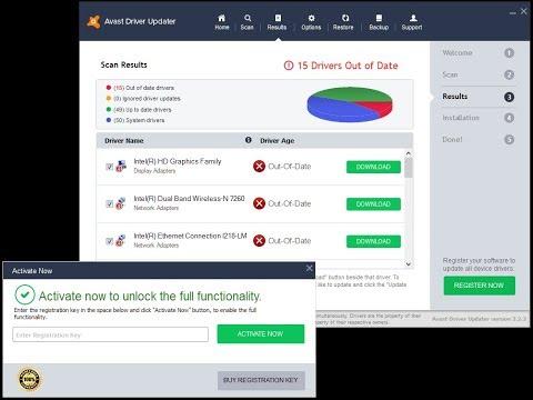avast driver updater registration key free 2018