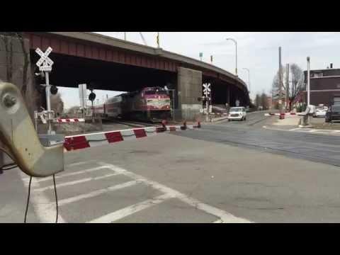 "04.02.15 . Outbound MBTA Commuter Rail train running ""Wrong Rail"" at Chelsea, MA"
