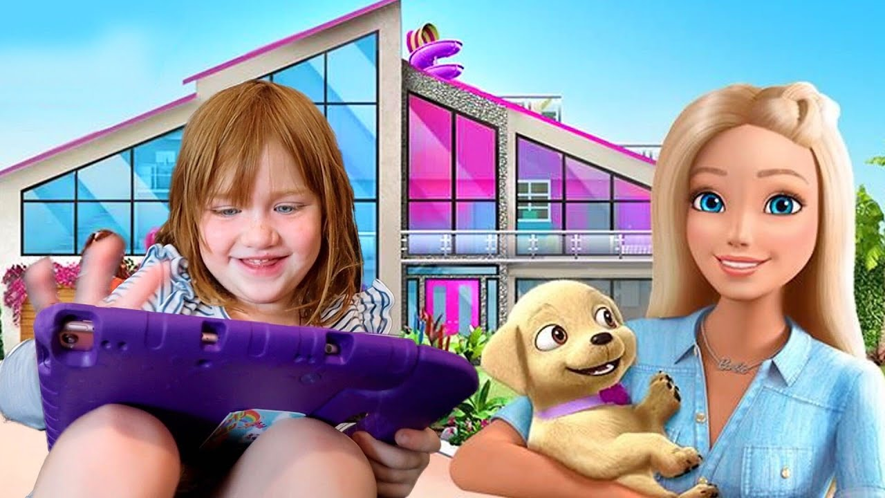 ADLEY iPAD TOUR!! playing Barbie Dream House, Princess Makeover, Toca Town pretend play, app reviews