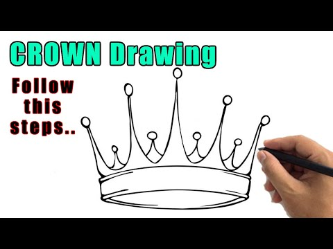 How To Draw A Crown Outline Drawing | Easy Crown Sketch Step By Step For Beginners