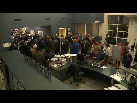 Protest forms during town hall with Rep. Sensenbrenner