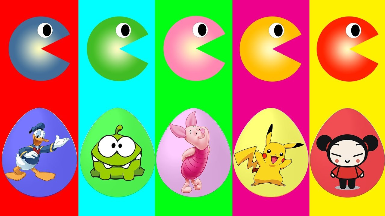 Learn Colors With 3D Pacman And Mario Surprise Eggs For Kids Colors Pacman Finger Family Song - YouTube