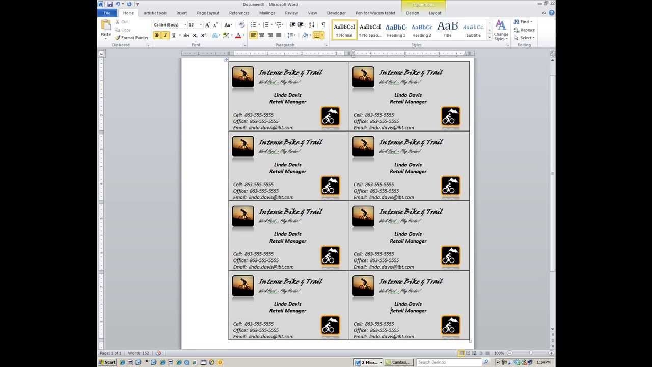 making a card in word