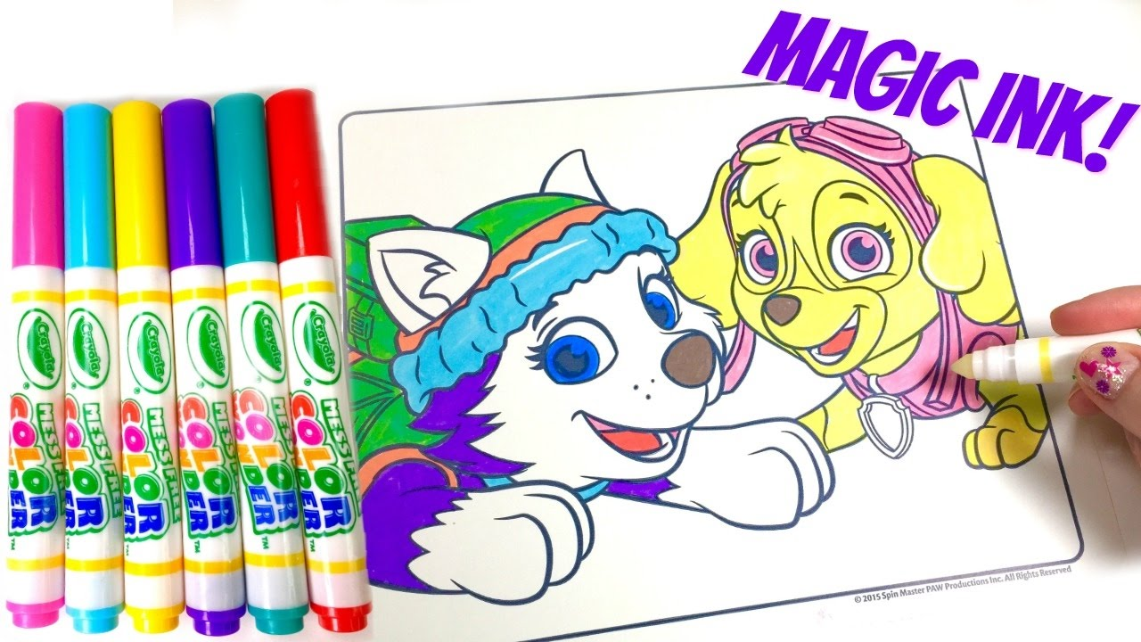 paw patrol everest skye crayola color wonder magic ink marker coloring book surprise youtube