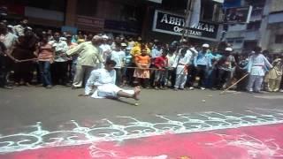 Dandpatta Stunts cutting lemons in a special way...Shivajiraje Mardani Akhaada, Pune