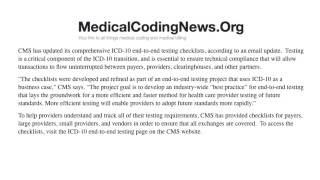 Cms makes icd 10 end to testing checklists available