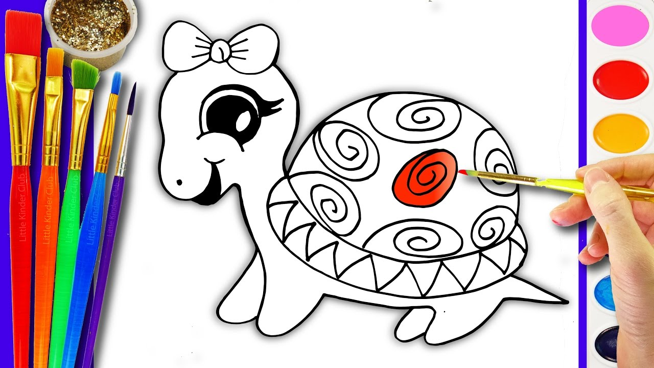 drawing and coloring turtle coloring pages for kids learn