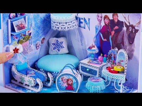 DIY Miniature Dollhouse Bedroom ~ Frozen Elsa Room Decor , Backpack  #59