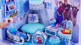 DIY Miniature Dollhouse Bedroom ~ Frozen Elsa Room Decor , Backpack  #59