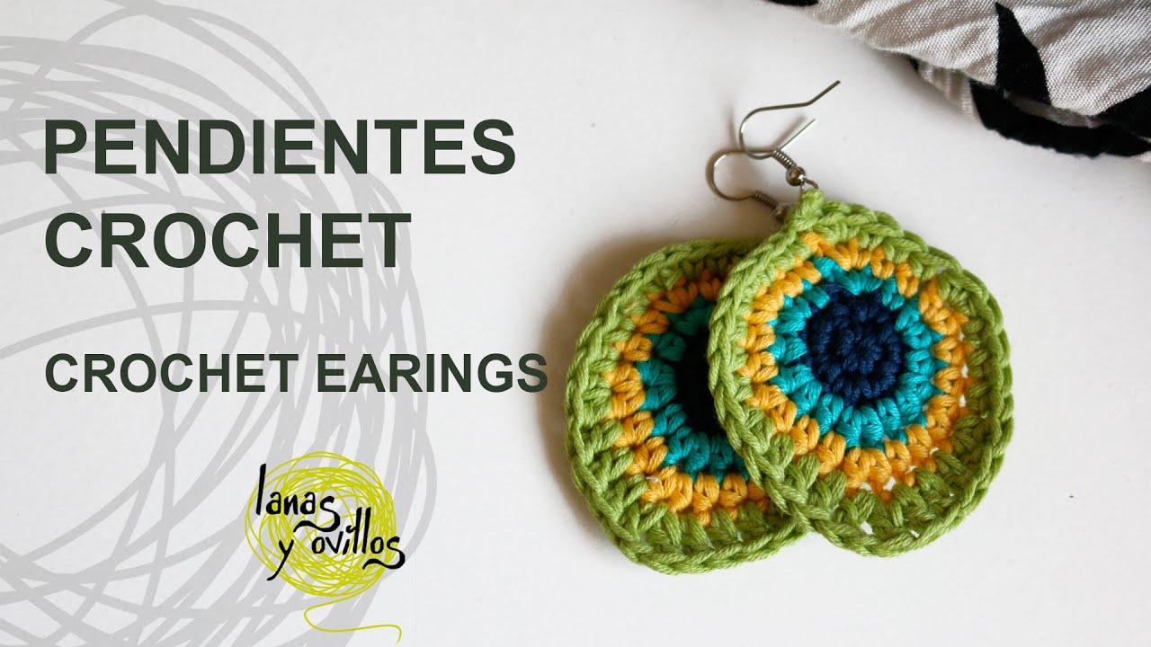45ab86776952 Tutorial Pendientes o Aros Crochet o Ganchillo - YouTube
