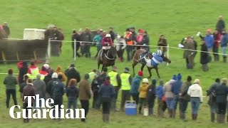 Irish jockey almost falls off horse but wins race after incredible recovery