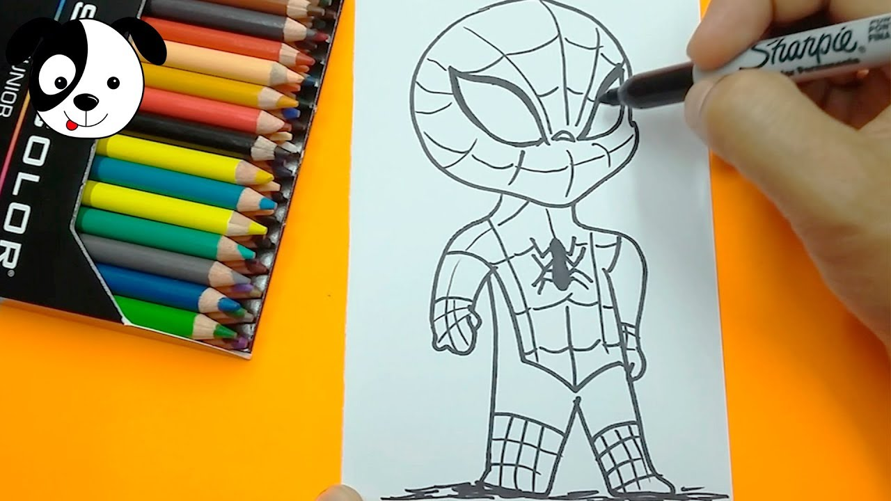 Como Dibujar Spiderman Kawaii Paso A Paso How To Draw Spider Man For Kids Art Color Kids