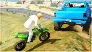 GTA 5 Funny Moments - Monster Truck vs Motor Bikes - (GTA V Online Games Stunts)