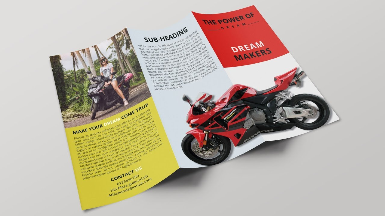 indesign Tutorial: Creating a trifold brochure in Indesign and mockup in  Photoshop