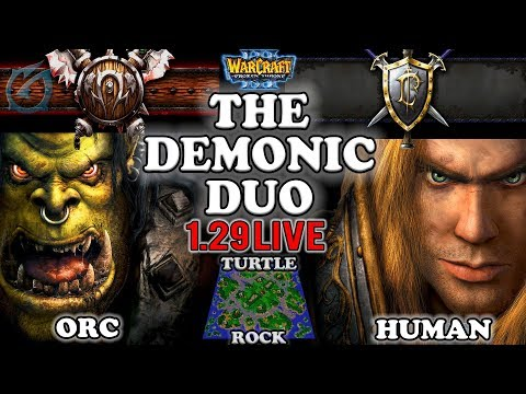 Grubby | Warcraft 3 TFT | 1.29 LIVE | ORC v HU on Turtle Rock - The Demonic Duo