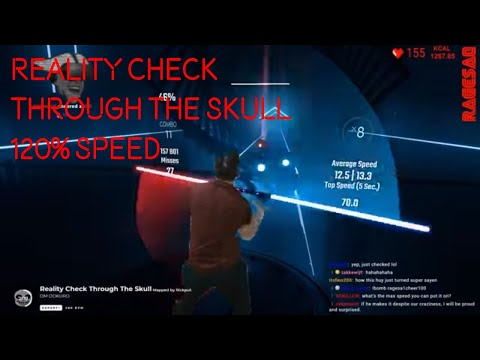 Reality Check Through The Skull Sped Up While Chat Bombs Me - Beat Saber Darth Maul Staff Style