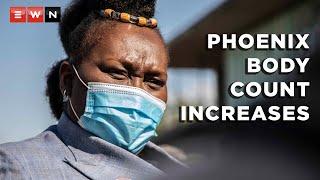 KwaZulu-Natal health MEC Nomagugu Simelane-Zuluspoke to the media at the COVID-19 vaccination site at Moses Mabinde stadium to update on the number of unclaimed bodies in Phoenix.  #Phoenix #KwaZulu-Natal #unrest