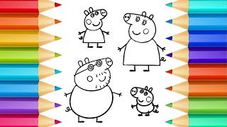 Peppa Pig -  Let's Draw Peppa Family - Surprise Eggs! - Learning with Peppa Pig