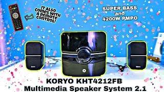 Koryo KHT4212FB Multimedia Speaker System 2.1 Unboxing & Review Sound & Bass Test