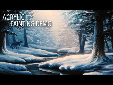 HOW TO PAINT A WINTER FOREST LANDSCAPE