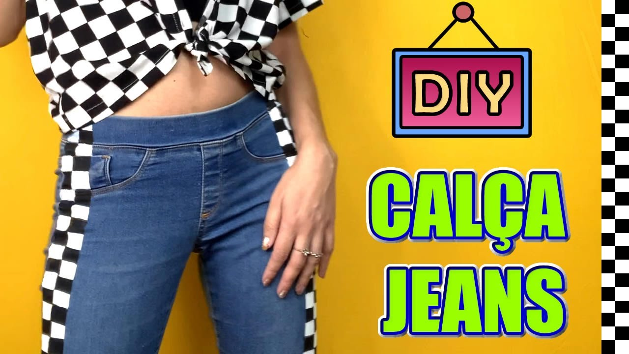 DIY TRANSFORMANDO CALÇA JEANS | Faixa lateral Jeans Hack