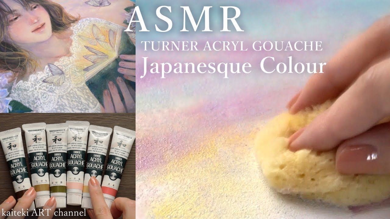 【ASMR】アクリルガッシュで絵を描く音🎧SOUND and PAINTING - TURNER ACRYL GOUACHE, Japanesque Colour 🦋a Girl & Flowers