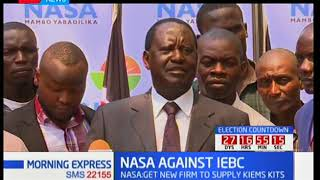 NASA flag bearer, Raila Odinga insists on engaging a new firm by IEBC to supply election kits
