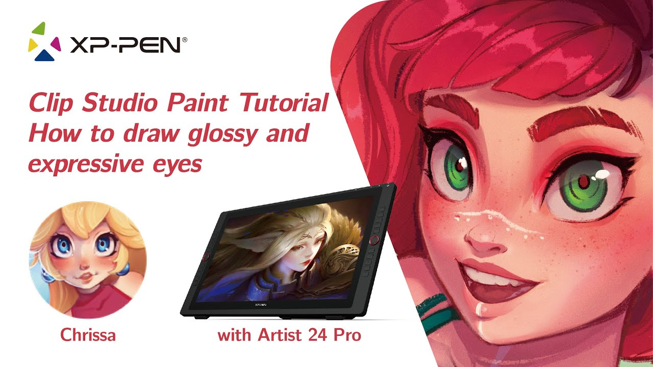 Drawing tutorial on how to draw glossy and expressive eyes in CSP with XP-PEN Artist 24 Pro