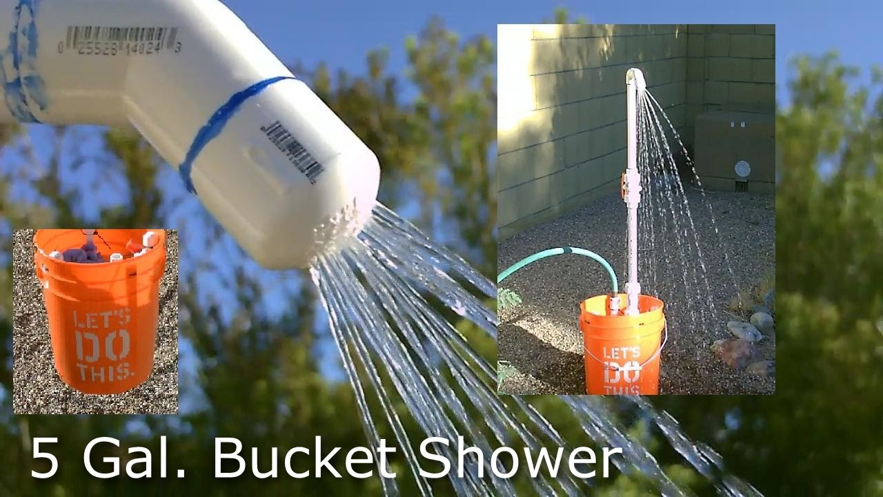Diy Shower The 5 Gallon Bucket Pvc Camp Shower Pvc Bucket Shower Easy Diy
