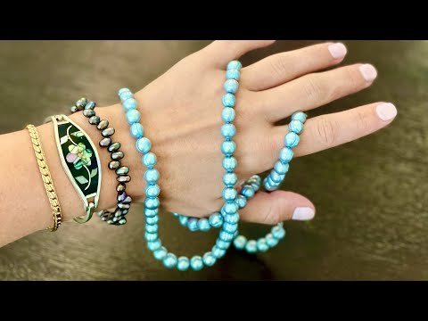 Blue pearls! Goodwill blue box mystery jewelry unboxing