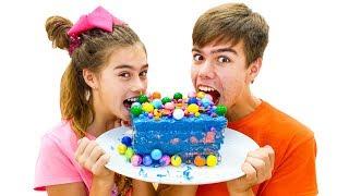 Nastya viert haar verjaardag met vrienden