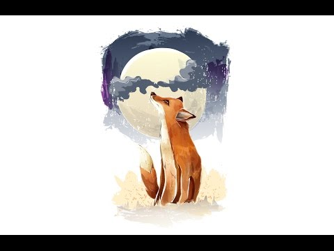 Time Lapse Adobe Illustrator : The fox an the moon vector painting illustration