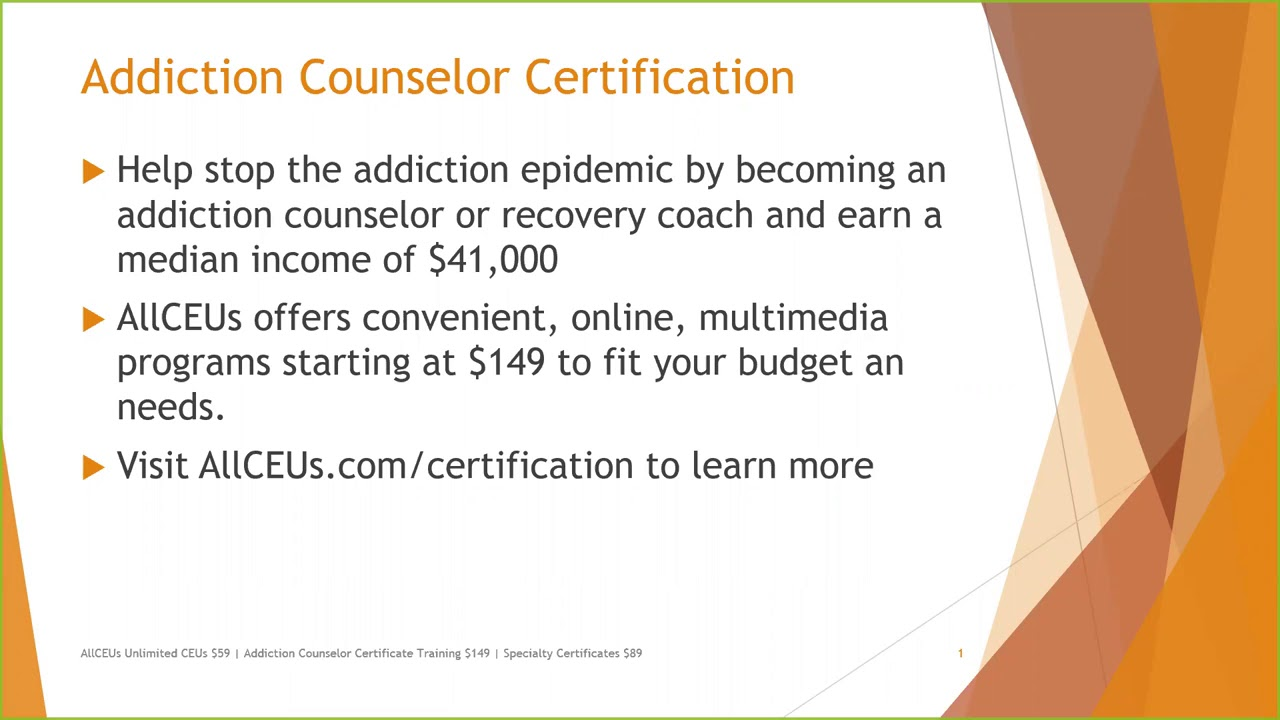 Addiction Certification Training Youtube