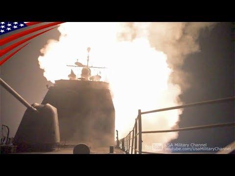 トマホークミサイルの巡洋艦&潜水艦からの発射映像:2018/4/14