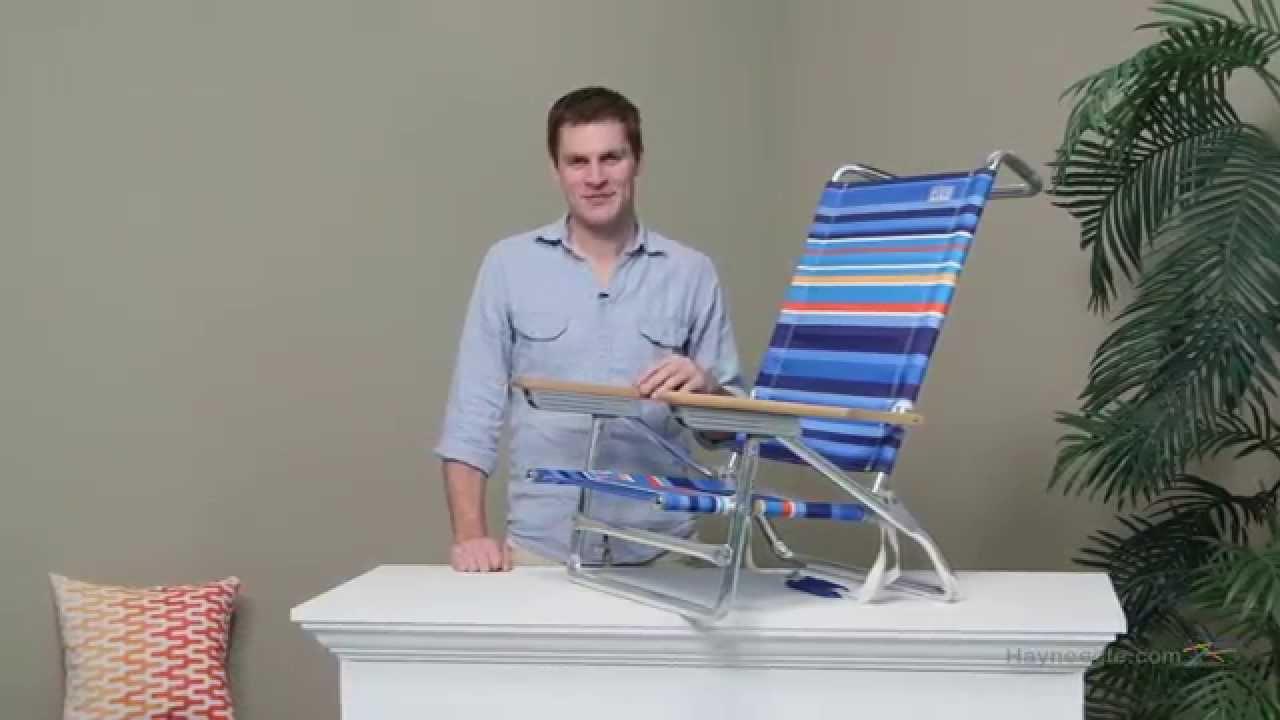 nautica beach chairs tall folding chair rio 5 position deep sea blue stripe youtube
