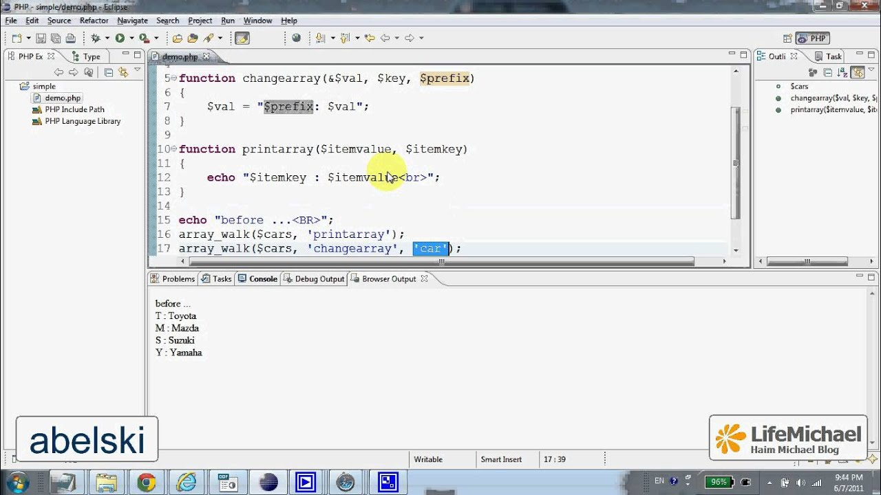 The walkarray Function in PHP