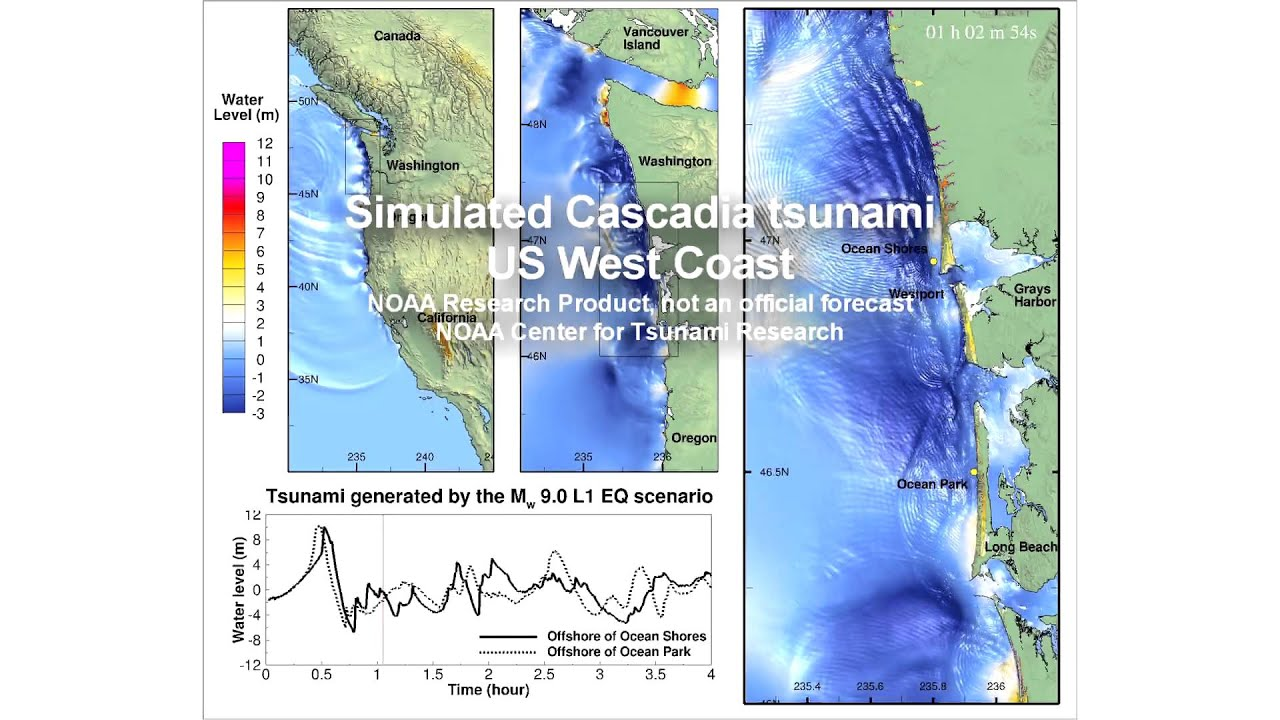 Simulated Cascadia Tsunami U S West Coast