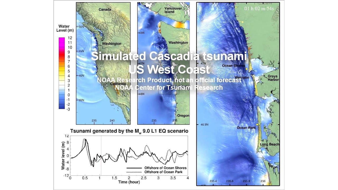 Simulated Cascadia Tsunami US West Coast YouTube - West coast fault lines