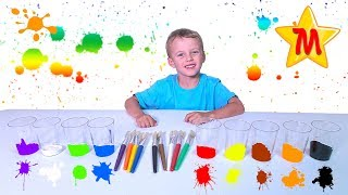 Learn Colors With Max by Matching Cups With Paint and Brushes The Wheels on the Bus Nursery Rhymes