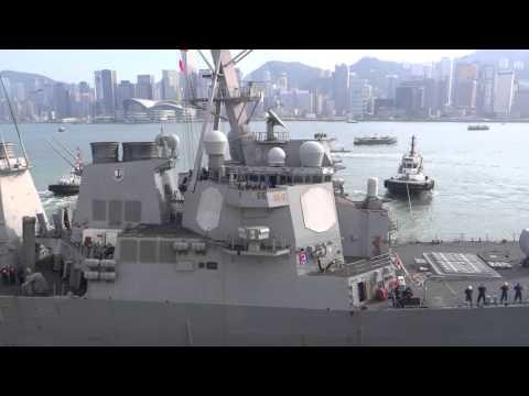 DDG 62 USS Fitzgerald Leaving Hong Kong