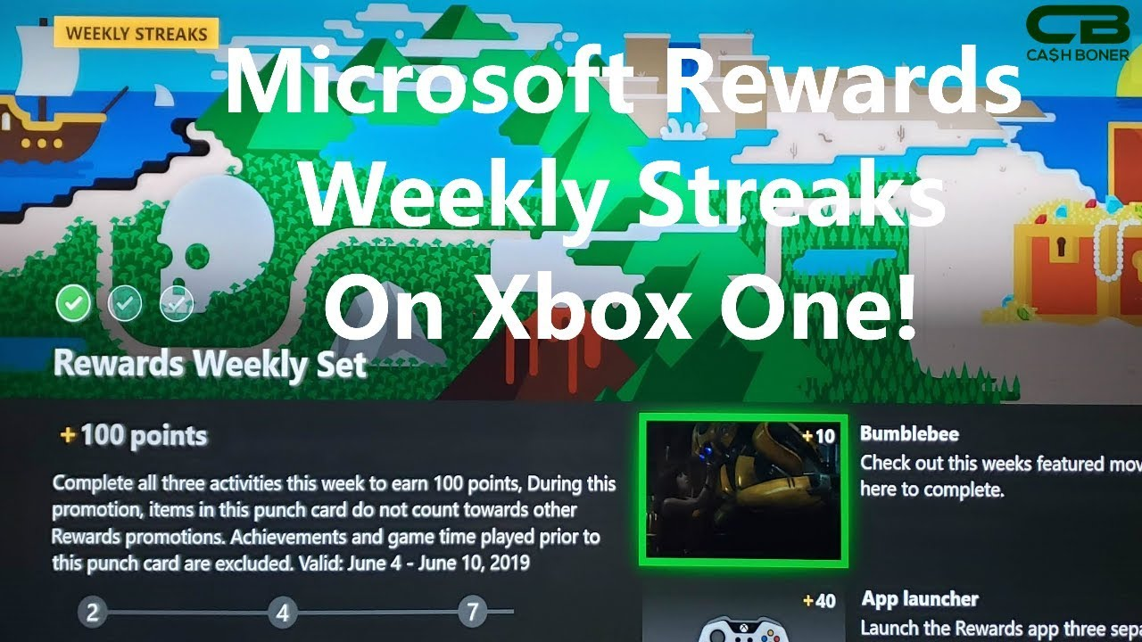 Microsoft Rewards Weekly Streaks on Xbox One - Up to 500 Points a Week!