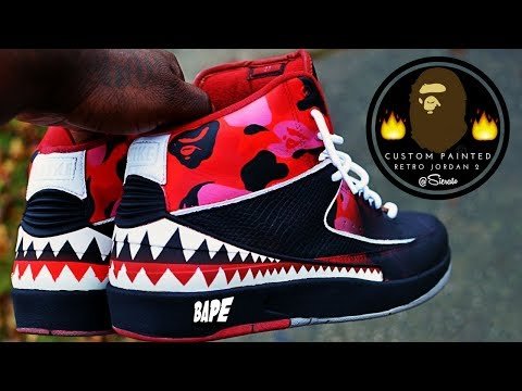 best service 5269a a20cf Full Custom   BAPE Jordan 2 Retro Restore Re-paint by Sierato