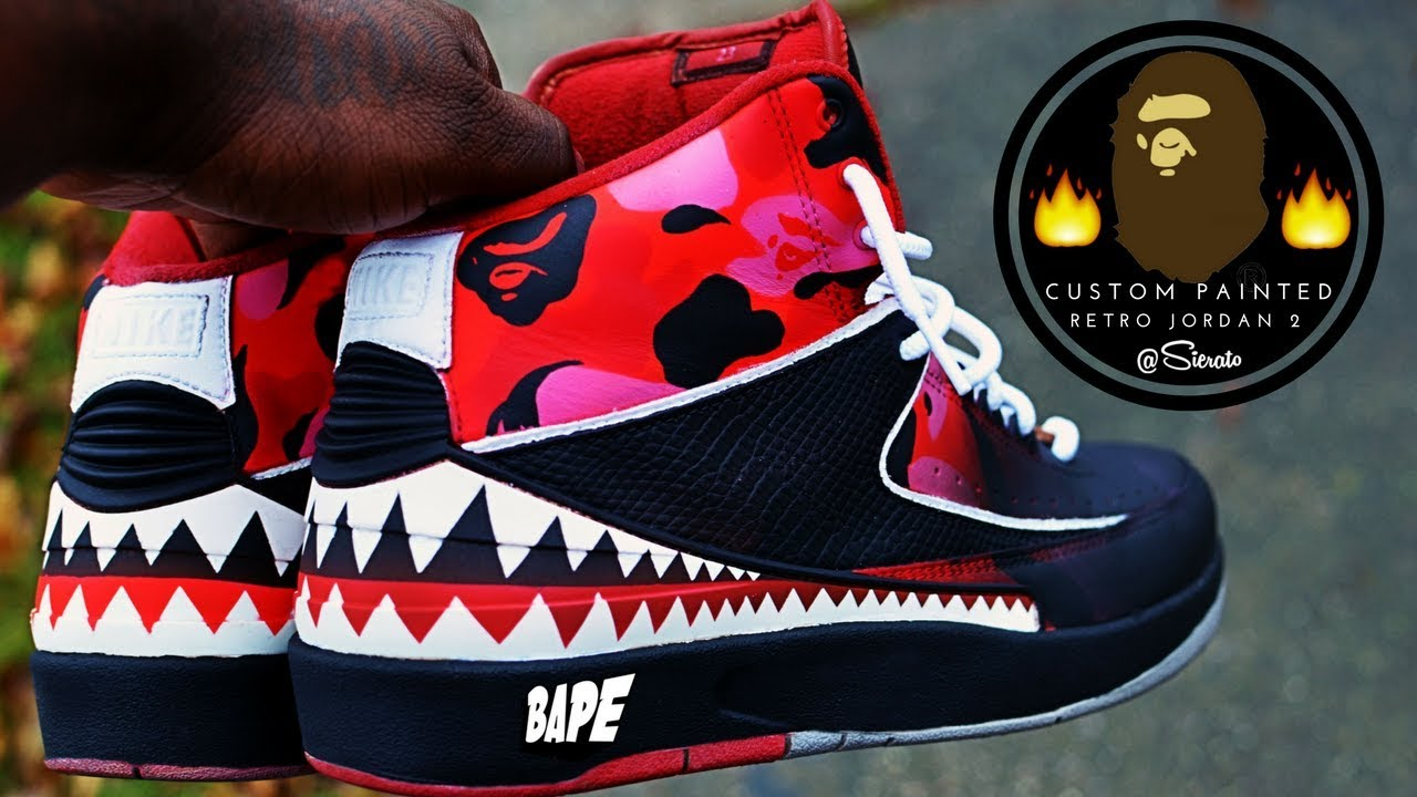 best service 01c96 cec8d Full Custom   BAPE Jordan 2 Retro Restore Re-paint by Sierato