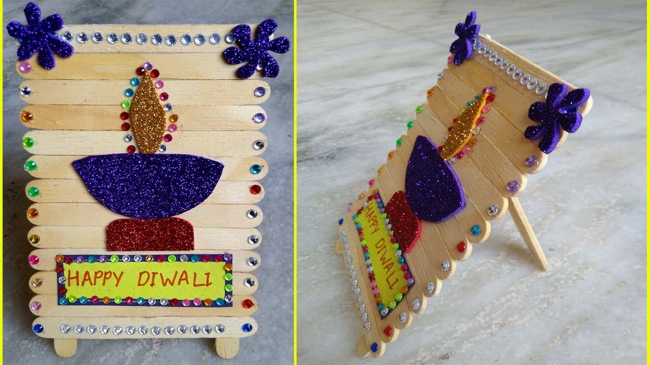 New Style Happy Diwali Greeting Card Stand With Ice Cream Stick